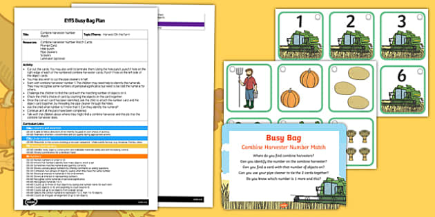 EYFS Combine Harvester Number Match Busy Bag Plan and Resource Pack