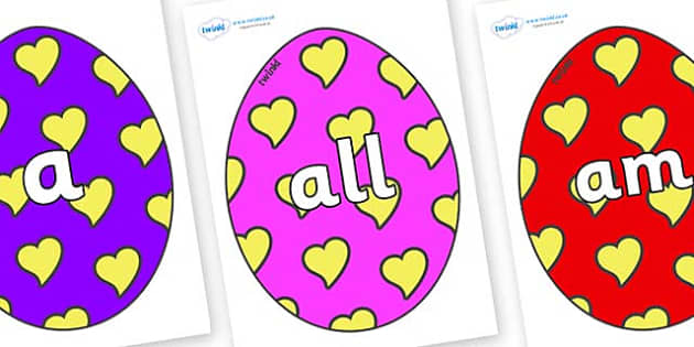 Foundation Stage 2 Keywords on Easter Eggs (Hearts) - FS2, CLL, keywords, Communication language and literacy,  Display, Key words, high frequency words, foundation stage literacy, DfES Letters and Sounds, Letters and Sounds, spelling