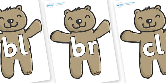 Initial Letter Blends on Teddy Bears - Initial Letters, initial letter, letter blend, letter blends, consonant, consonants, digraph, trigraph, literacy, alphabet, letters, foundation stage literacy