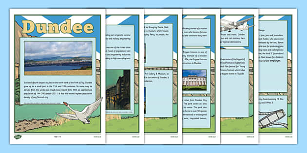 Dundee Information Sheets - CfE, Social Studies, Town and Cities, Scottish Cities, Dundee,Scotland, curriculm, excellence, scottish, geography, location, city, town,