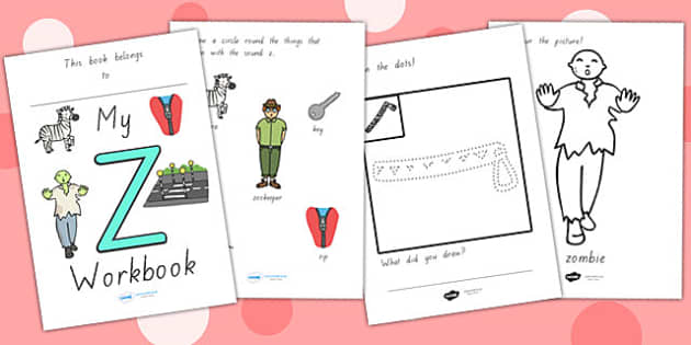 My Workbook Z Lowercase - letter formation, writing, tracing