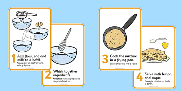Pancake Recipe Sheet Romanian Translation - romanian, Pancake day, recipe, pancake, shrove Tuesday, pancakes, recipe card, making pancakes, display poster, recipe information