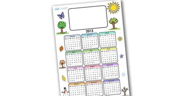 Editable 2013 Calendar Seasons - calendar, editable calendar, months of the year, display calendar, seasons, seasons calendar, editable seasons calendar, display, display poster, poster, the year, 2013, 2013 calendar