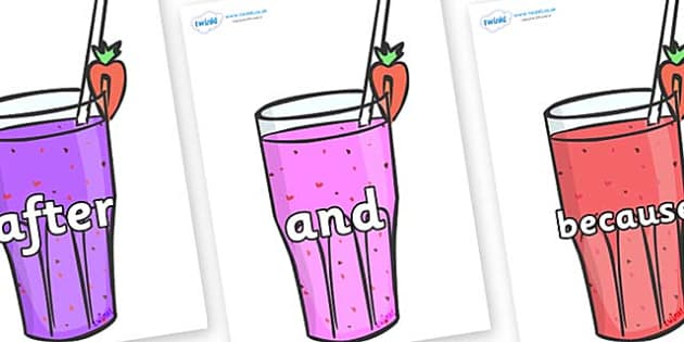 Connectives on Smoothies - Connectives, VCOP, connective resources, connectives display words, connective displays
