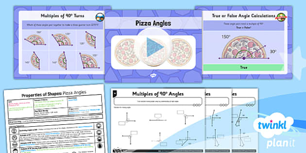 PlanIt Y5 Properties of Shapes Lesson Pack Multiples of 90 degrees - Properties of Shapes, angles, acute, obtuse, reflex, measure angles, draw angles, degrees, protractor, angle measurer, multiple of 90 degrees, missing angle, calculate angles