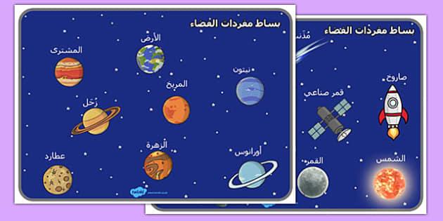 بساط كلمات الفضاء - لوحة، شبكة مفردات، الفضاء، الكواكب، وسائل