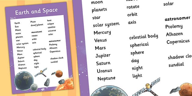 Year 5 Earth and Space Scientific Vocabulary Poster - vocabulary