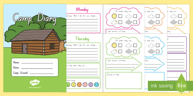 Camp Diary Activity Booklet - New Zealand Back to School, camp, reflection journal, camp activities, camp organisation, trips, ove