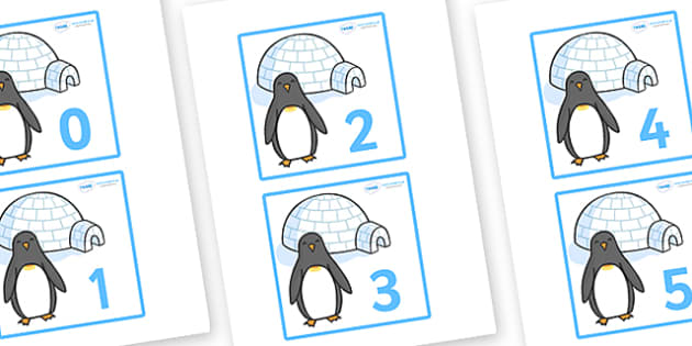 Penguins and Igloos Flashcards (0-10) -  Winter, numeracy, counting, flashcards, flashcard, number words, polar, arctic, display, winter words, Word card, flashcard, snowflake, snow, winter, frost, cold, ice, hat, gloves