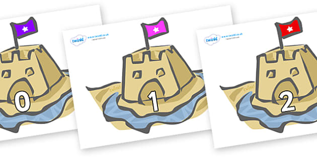 Numbers 0-31 on Sand Castles - 0-31, foundation stage numeracy, Number recognition, Number flashcards, counting, number frieze, Display numbers, number posters