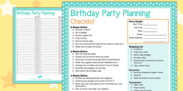 Party Planning Checklist birthday party planning – Birthday Party Planning Checklist Template