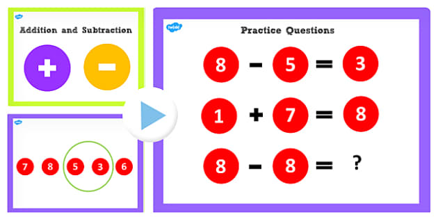 Addition and Subtraction Facts to 8 PowerPoint - Add, Subtract