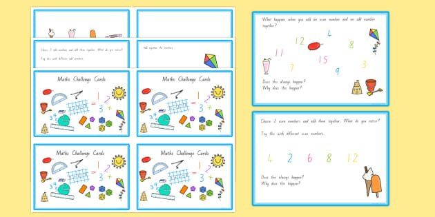 Summer Themed Junior Maths Challenge Cards - nz, new zealand, summer, challenge, math