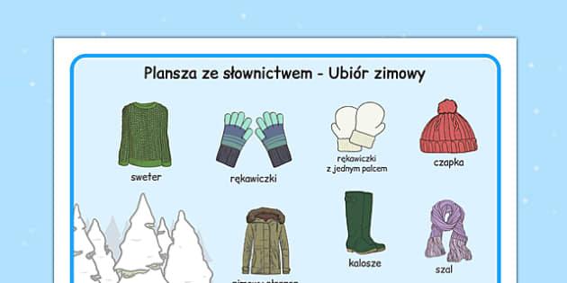 Plansza ze słownictwem Ubiór zimowy po polsku - zima, ubrania