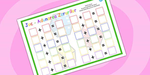 Joc Matematic Adunari cu Zarul - fisa matematica, zaruri, ludic, Romanian