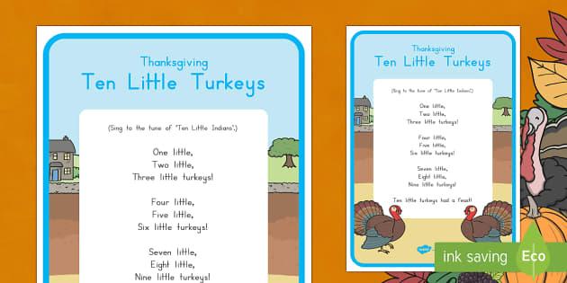 Ten Little Turkeys Song Lyrics