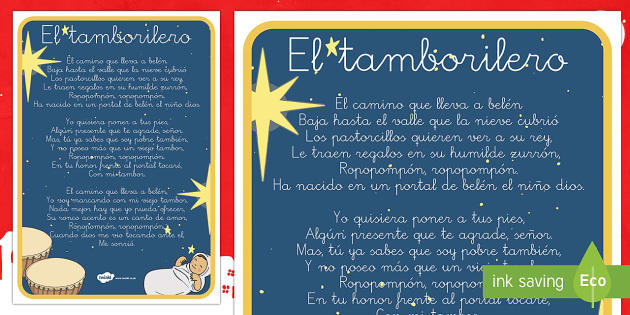 Póster: El tamborilero  - Navidad, villancico, canción, festival, decorar, póster, Spanish