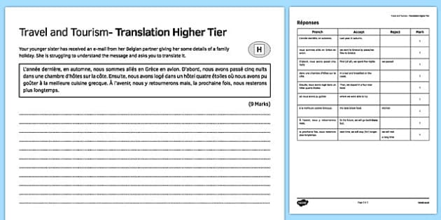 Travel and Tourism Translation Higher Tier Activity Sheet-French, worksheet