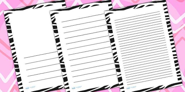 Zebra Print Page Borders - writing templates, writing frames
