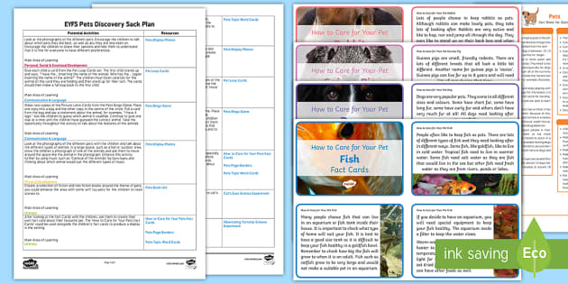 EYFS Pets Discovery Sack Plan and Resource Pack - EYFS, pets, resource pack, animals