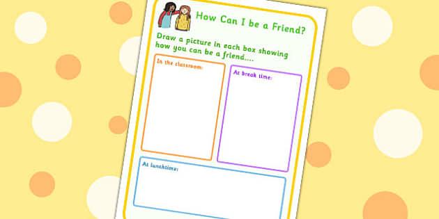 How Can I Be A Friend No Writing Worksheet - friendship, SEN