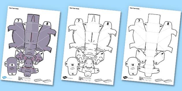 3D Hippo Paper Model Activity - paper, craft, 3d, make, model, animal, safari, africa, hippo, hippopotamus