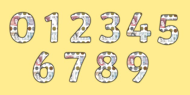 Money Display Numbers - money, money numbers, money themed numbers, money themed display lettering and numbers, coins and notes themed display numbers