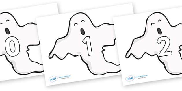 Numbers 0-100 on Ghosts (Plain) - 0-100, foundation stage numeracy, Number recognition, Number flashcards, counting, number frieze, Display numbers, number posters