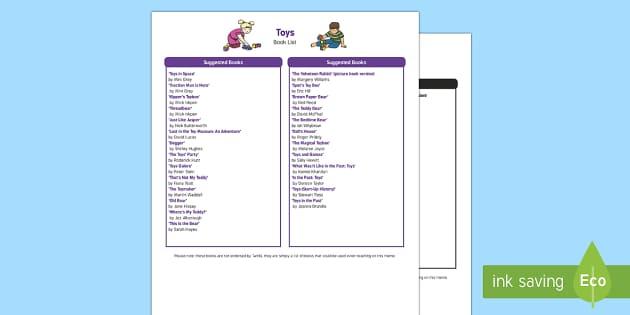 Toys Book List - EYFS, Early Years, KS1, Toys, teddy bear, doll, toy box, toy shop, book list