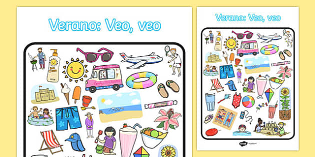 Verano: Veo, veo Summer-Themed I Spy With My Little Eye Activity Spanish - games, game, summertime, Timw