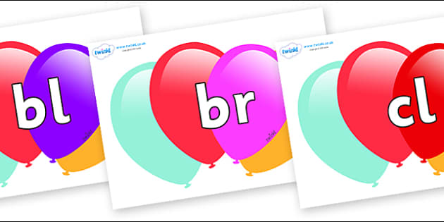 Initial Letter Blends on Balloons - Initial Letters, initial letter, letter blend, letter blends, consonant, consonants, digraph, trigraph, literacy, alphabet, letters, foundation stage literacy