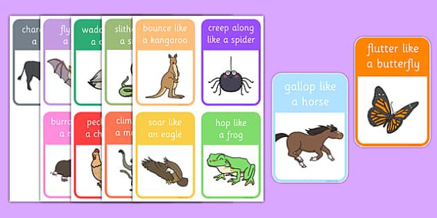Animal Movement Cards - animal, movement, cards, waddle, plod