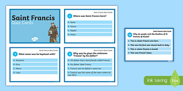 Saint Francis of Assisi Quiz Cards