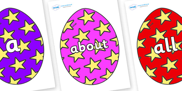 100 High Frequency Words on Easter Eggs (Stars) - High frequency words, hfw, DfES Letters and Sounds, Letters and Sounds, display words