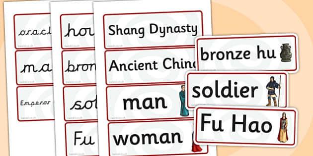 The Shang Dynasty Word Cards - shang dynasty, history, china