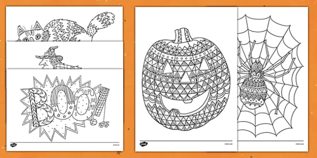 Halloween Themed Mindfulness Coloring Sheets - halloween, mindfulness
