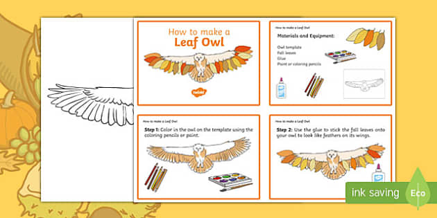 Leaf Owl Craft Instructions - usa, america, Autumn, seasons, september, october, topics, ks1, harvest, hibernation, reception, EYFS, owl, animal, forest, craft, leaves, leaf
