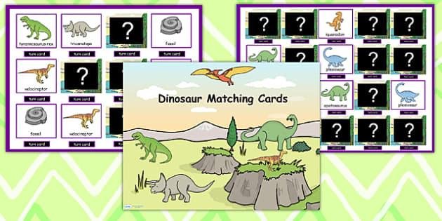 Dinosaur Themed Matching Cards Activity Flipchart - dinosaurs