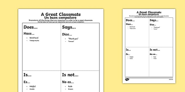 First Day Great Classmate Activity Sheet Spanish Translation - spanish, Back to School, new start, new class, behaviour, relationships, friendships, rules, responsibility, Scottish, worksheet