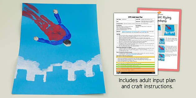 EYFS Handprint Flying Superhero Craft Adult Input Plan and Resource Pack