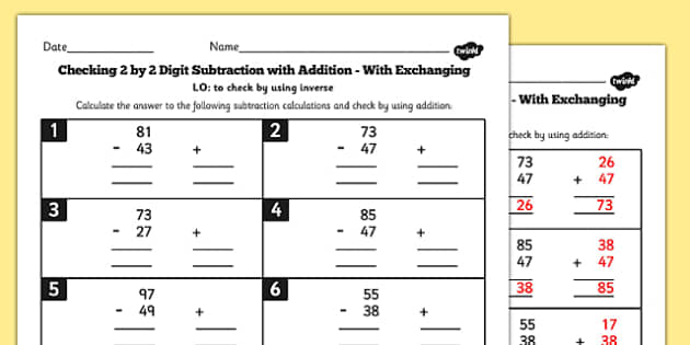 Y3 Inverse Check 2 Digit 2 Subtraction Addition Exchange Sheet