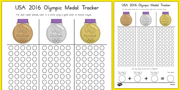 USA 2016 Olympic Medal Count and Add Activity Sheet, worksheet