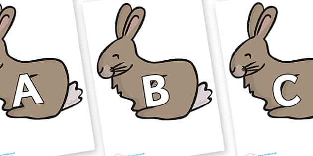 A-Z Alphabet on Rabbit - A-Z, A4, display, Alphabet frieze, Display letters, Letter posters, A-Z letters, Alphabet flashcards