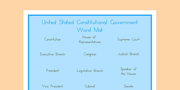 United States Constitutional Government Word Mat - US Resources, Government, Branches, United States, President, Congress, Supreme Court, House of Representatives, Senate, Constitution