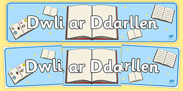 Baner 'Dwlu ar Ddarllen' - Welsh, we love reading, reading, literacy, reading area, Wales, display, banner, sign, poster, book area, library, classroom labels, area signs,cymru