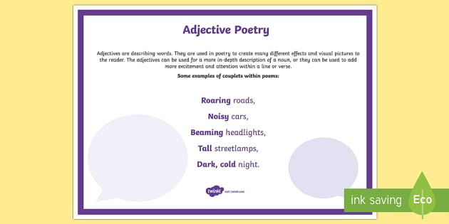 Adjective Poetry A4 Display Poster - Literacy, Interpreting, analysing, evaluating, english, poetry, writing, poems, poetry, adjective, g