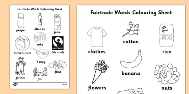 Fairtrade Words Colouring Sheets - fairtrade, colour, colouring