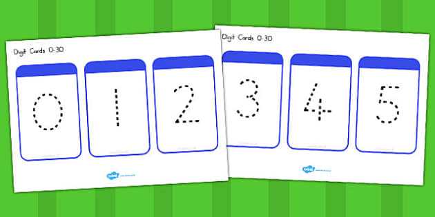 Number Digit Cards Dots 0 30 - number, digit, visual aid, maths