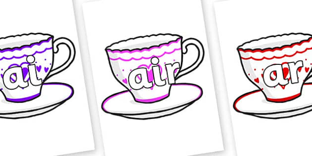 Phase 3 Phonemes on Cups and Saucers - Phonemes, phoneme, Phase 3, Phase three, Foundation, Literacy, Letters and Sounds, DfES, display