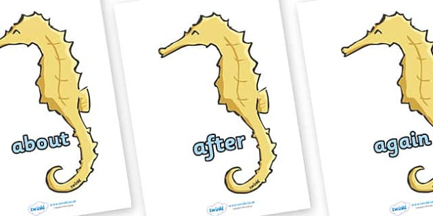KS1 Keywords on Seahorses - KS1, CLL, Communication language and literacy, Display, Key words, high frequency words, foundation stage literacy, DfES Letters and Sounds, Letters and Sounds, spelling